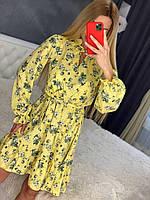 Женское летнее платье с поясом в цветочный принт