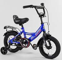 """Двухколесный велосипед Corso CL-12617 диаметр колес 12"""", оборудован страховочными колесами, ручной тормоз"""
