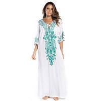 Новинка 2021! Красивое белое хлопковое женское пляжное платье накидка, с вышивкой, размер 54-58( 3XL-5XL).