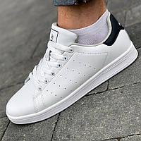 Мужские кожаные кроссовки кеды из эко кожи брендовые повседневные белые в стиле Adidas Stan Smith 44 размер