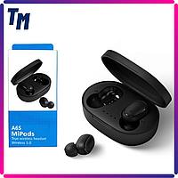 Наушники беспроводные Redmi AirDots A6s MiPods TWS вакуумные блютуз гарнитуры с хорошим микрофоном Черные