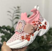 """Нежные аккуратные женские кроссовки мокасины в стиле Roger Vivier с рисунком """"Весна"""""""