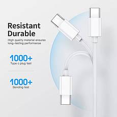 Оригінальний кабель KUULAA PD 60W USB Type-C - USB Type-C Quick Charge 4.0 швидка зарядка QC4.0 3A 1м White, фото 2