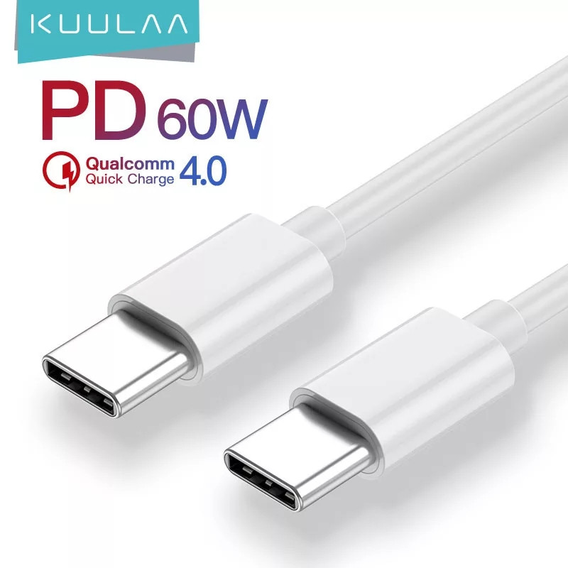 Оригінальний кабель KUULAA PD 60W USB Type-C - USB Type-C Quick Charge 4.0 швидка зарядка QC4.0 3A 1м White