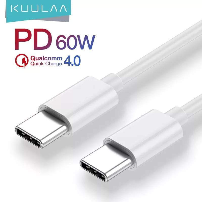Оригинальный кабель KUULAA PD 60W USB Type-C - USB Type-C Quick Charge 4.0 быстрая зарядка QC4.0 3A 1м White