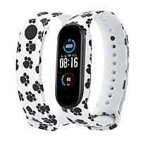 Силиконовый ремешок ЛАПКИ на фитнес часы Xiaomi mi band 5 браслет аксессуар замена