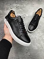 Кеды модные Armani-114 Мужские кроссовки кожа LUX Реплика Black/White (Размер 40)