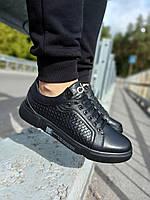 Кеды модные CK 6 Мужские кроссовки кожа LUX Реплика Black (Размер 40)