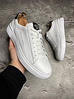 Кеды модные Philipp Plein-55 мужские кроссовки кожа LUX Реплика White (Размер 40)