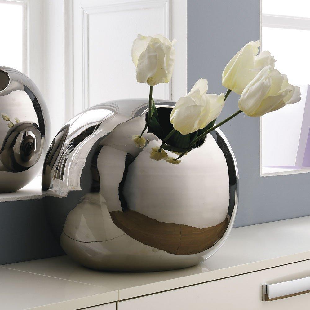 Ваза керамічна Adriani Rossi Sfera 22x18 см Платина (34592)
