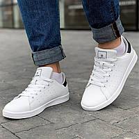 Демисезонные мужские кожаные кроссовки кеды из эко кожи комфортные легкие Adidas Stan Smith белые 44 размер
