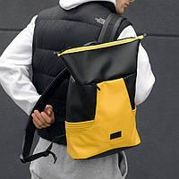 Роллтоп рюкзак мужской черно-желтый унисекс. Городской рюкзак RollTop кожаный. Моложёный рюкзак ролл из кожи