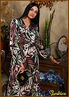 Красивое модное женское платье на резинке миди с длиным рукавом ткань шелк армани