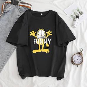 Женская Футболка с котом Funny черная