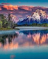 Алмазная вышивка мозаика Diy Озеро у гор 2  DZDP1217 30х40см квадратные стразы, полная зашивка, 20 цветов