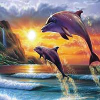 Алмазная вышивка мозаика Diy Пара дельфинов  DZDP1048 30х40см квадратные стразы, полная зашивка, 20 цветов