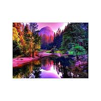 Алмазная вышивка мозаика Diy Озеро у гор 3  DZDP723 30х40см квадратные стразы, полная зашивка, 20 цветов