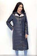 Стильное стеганное демисезонное пальто больших размеров
