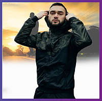 Стильная мужская куртка комуфляж спортивная с капюшоном не промокаемая ветровка Windbreaker