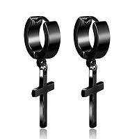 Серьги с крестиками, серьги с крестом чёрные из нержавеющей стали в стиле панк 2шт