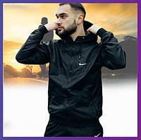 Молодежная мужская куртка черная спортивная с капюшоном не промокаемая ветровка Windbreaker