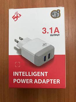 Сетевое зарядное устройство Intelligent Power Adapter зарядка блочок 3.1A на 2 USB блок питания