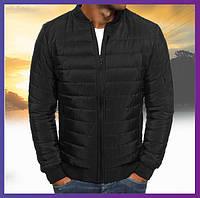 Молодежная куртка мужская короткая демисезонная черная, бомбер без капюшона, ветровка осень весна