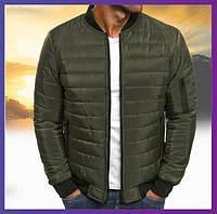Молодежная куртка мужская короткая демисезонная хаки, бомбер без капюшона, ветровка осень весна