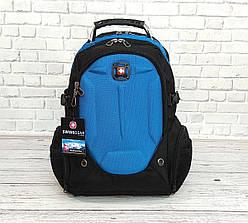 Вместительный рюкзак Жесткая ортопедическая спинка Черный с синим 35L / s6611 blue ViPvse