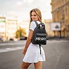 Стильний чорний жіночий рюкзак з екошкіри., фото 4
