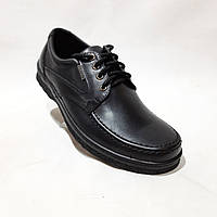 Мужские кожаные туфли на шнурках прошитые BASTION (Бастион) Черные отличное качества
