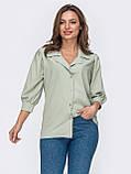 Стильная зеленая блузка на застежке пуговицы и рукавом три четверти, фото 2