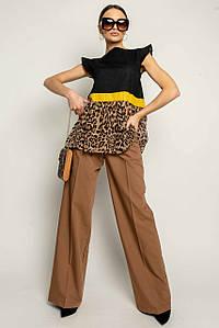 Женский брючный костюм с леопардовой блузой без рукавов (Лео-Скарлет ri)