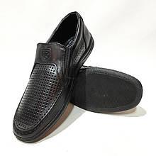 Чоловічі шкіряні туфлі літні, прошиті BASTION (Бастіон) перфорація чорні