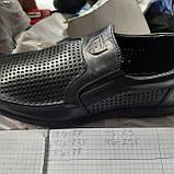 Чоловічі шкіряні туфлі літні, прошиті BASTION (Бастіон) перфорація чорні, фото 9