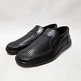 Чоловічі шкіряні туфлі літні, прошиті BASTION (Бастіон) перфорація чорні, фото 4