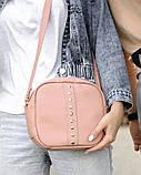 Стильная женская белая сумка кроссбоди с длинным ремешком через плечо матовая экокожа, фото 6