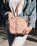 Стильная женская белая сумка кроссбоди с длинным ремешком через плечо матовая экокожа, фото 7