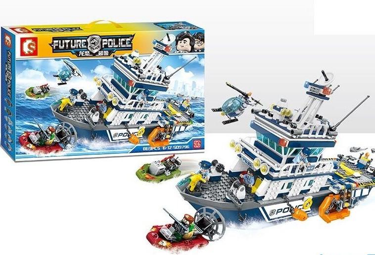 """Конструктор дитячий SD 9796 """"Поліцейське судно"""", 869 деталей, в коробці"""