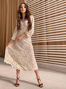 Женское платье миди свободного кроя в цветочный принт 42-44 р