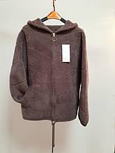 Женская куртка с капюшоном из шерсти альпака
