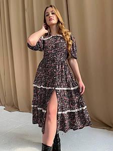 Женское платье миди свободного кроя на пуговицах с принтом 42-44 р