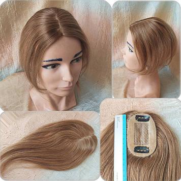 "Накладка из натуральных волос на макушку, моно-система MINI Q-A10""-6"