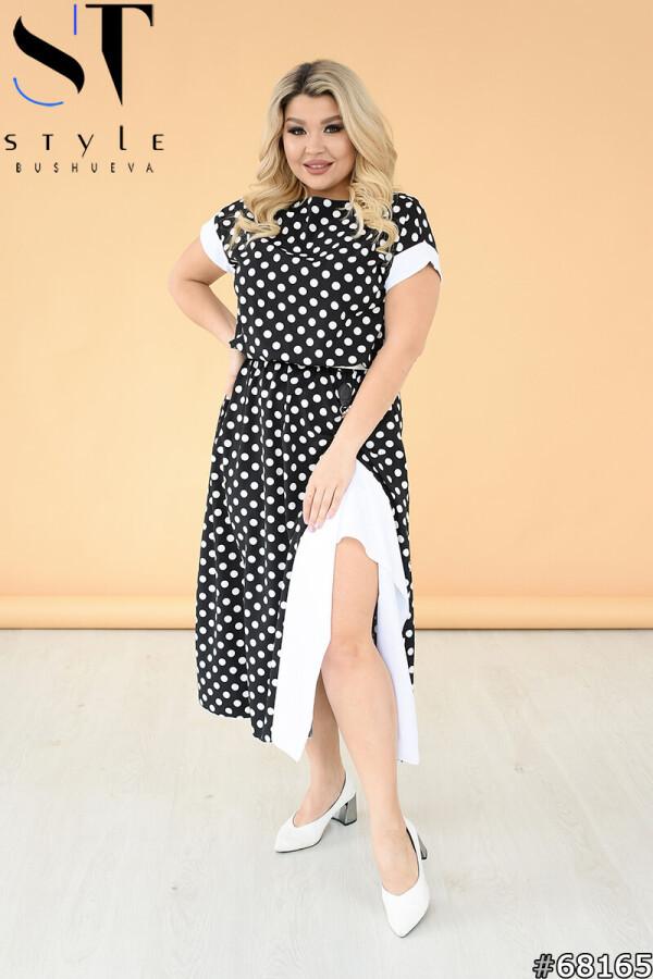 Красиве літнє плаття в горошок з ефектним розрізом збоку, Чорний-Білий, Софт, р. 50-52,54-56,58-60