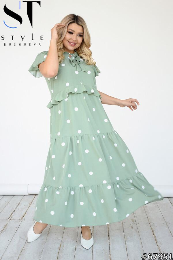 Красиве літнє плаття максі з воланами в горошок М'ята, Софт