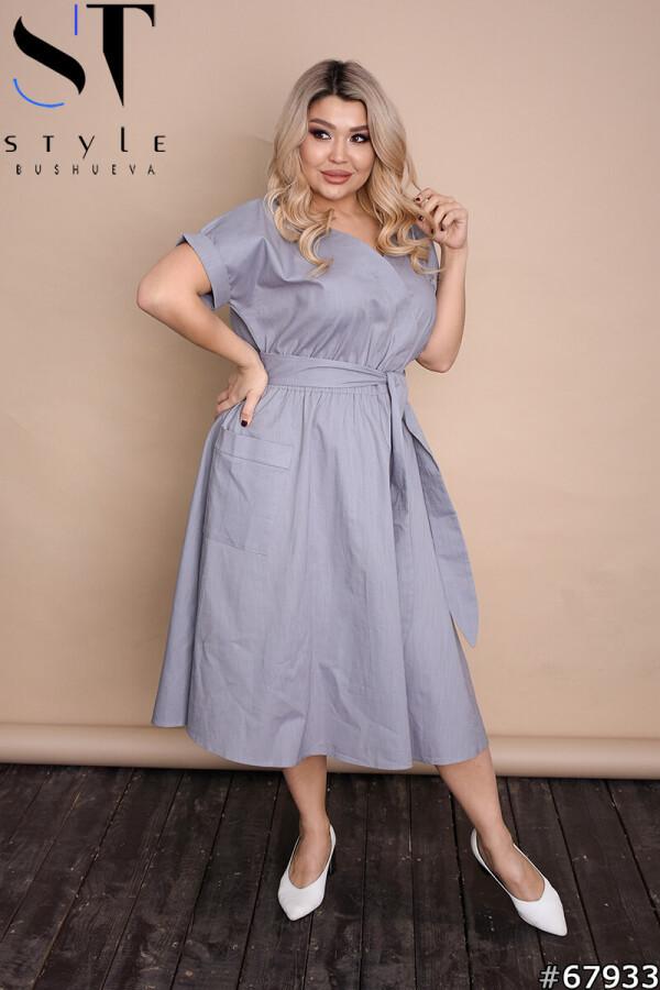 Стильне однотонне літнє плаття міді на запах Сірий, Льон