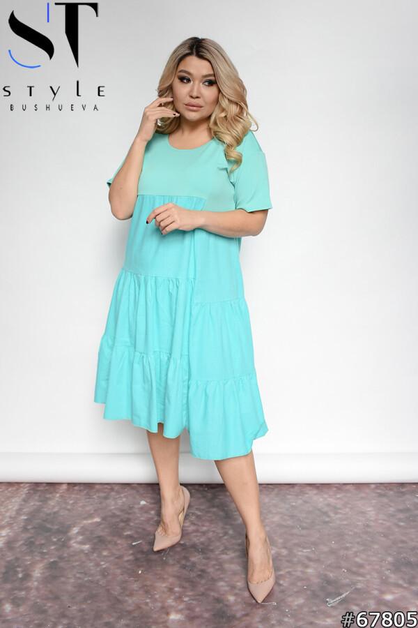Чарівне однотонне літнє плаття з оборками М'ята, Дайвінг + льон