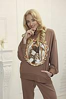 Модные худи женские с принтом Zhilina collection X-01Z M Мокко
