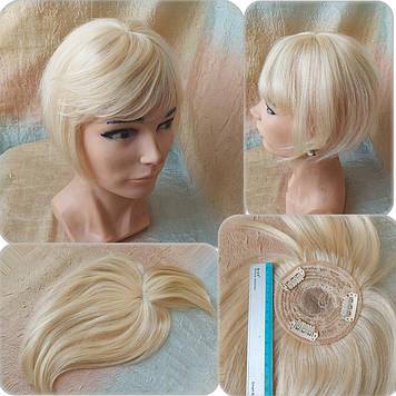 """Накладка с челкой из натуральных волос на макушку MUSI Q10""""-613"""