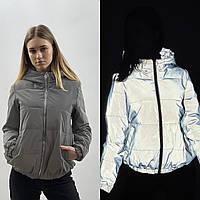 Светоотражающая женская куртка с капюшоном весенняя осенняя